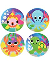 French Bull - BPA Free Children's Dinner Set - 8-Inch Melamine Kids Plate Set - Ocean, Set of 4