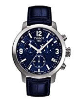 Tissot PRC 200 Chronograph Blue Dial Blue Leather Mens Watch T0554171604700