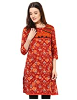 Jaipur Kurti's Pure Cotton 3/4 Sleeve Maroon Kurti