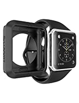 Apple Watch Case LUVVITT ULTRA ARMOR Case for Apple Watch 42mm (High Performance Fluoroelastomer) Flexible Rubber Case for Apple Watch | for 42mm Apple Watch / Watch Sport / Watch Edition - Black