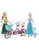 Tandem Bicycle With Anna Doll, Elsa Doll & Olaf Figure