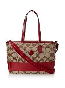 Coach Signature Stripe Baby Bag, Red
