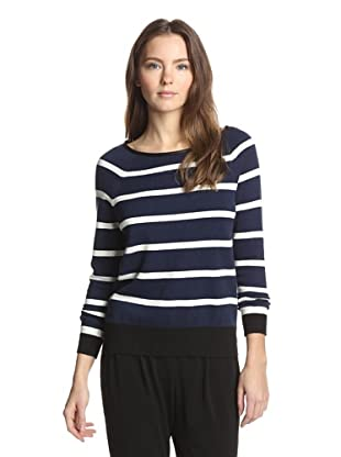 Shae Women's Pullover with Leather Trim (Deep Navy Stripe)