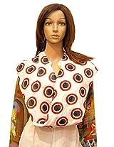 Dulhan Choice White colour Cotton Dupatta with black n red polka print