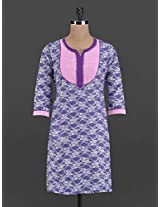 Funnel neck printed cotton kurta