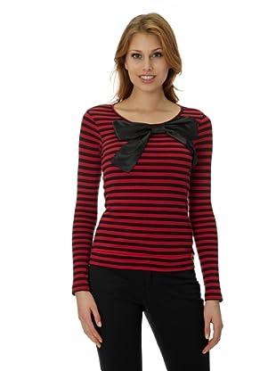 Pussy Deluxe Camiseta Knit Bow (Rojo / Negro)