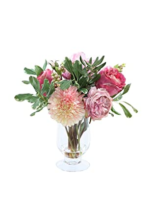 Garden Flowers in Glass Vase, Pink