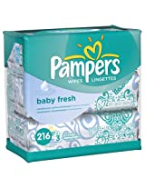 Pampers Baby Fresh Wipes 3X Travel Pack (3 Packs, 72 Sheets per Pack)