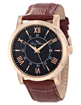 Lucien Piccard Men's 11577-RG-01 Stockhorn Black Textured Dial Brown Leather Watch