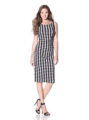 KAMALIKULTURE Women's Shirred Waist Dress (Black/Off-White Check)