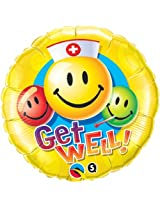 Pioneer Balloon Company Get Well Smiley Face Balloon, 18