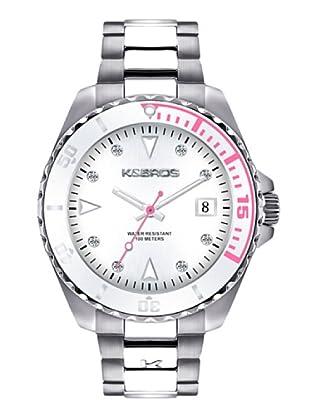 K&BROS 9175-4 / Reloj de Señora  con brazalete metálico blanco