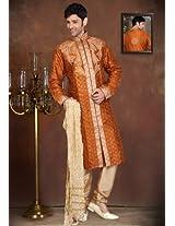 Dark Orange Art Silk Readymade Kurta with Churidar