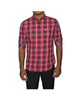 John Players Men's Cotton Shirt (Red_42)
