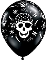 "Pioneer Balloon Company 50 Count Pirate Skull & Crossbones Latex Balloon, 11"", Onyx Black"