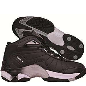 Nivia Combat Basketball Shoes, Black with Silver 10