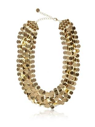 Chloe & Theodora Goldtone Shimmer Disc Necklace with Light Colorado Cubic Zirconias