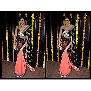 High5store Mandira Bedi Saree - Black & Peach