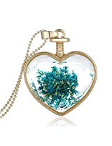 Cilver Fashion Glass Locket Real Dried Flowers Pendant Chain Gold Necklace (Orange1)