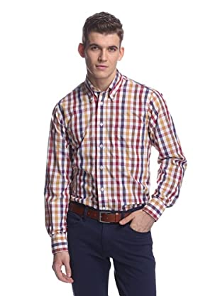 Oxxford Men's Sport Shirt with Button-Down Collar (Wine/Gold/Navy Check)