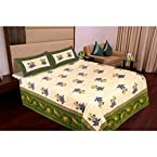 Amazing Jaipuri Double Bed Sheet With Two Pillow Covers