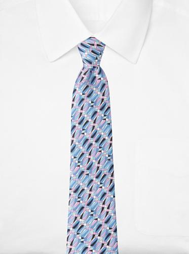 Emilio Pucci Men's Oval Stripe Tie, Blue/Pink