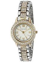 Anne Klein Womens AK/1493MPTT Swarovski Crystal Accented Two-Tone Bracelet Watch