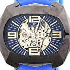 Goer Silicon Rubber Big Band Army Military Men Auto Mechanical See Through Wrist Watch Blue