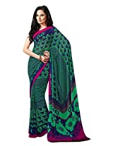 Green Color Georgette Printed Saree with Blouse 7024