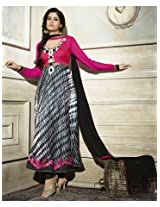 Aarna Designer Semi Stitched Pink & Black Suit For Women