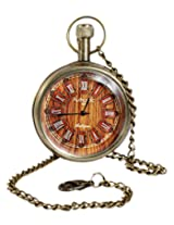 Unisex Antique Case Vintage Brass Rib Chain Quartz Pocket Watch For Men Women - 1.5 Inch