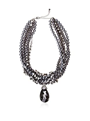 Chloe & Theodora Clear Crystal and Simulated Pearl Statement Necklace