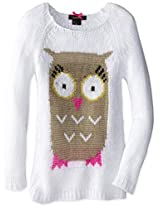 My Michelle Big Girls' Raglan Sweater with Owl Front, White/White, Medium