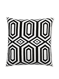 """Peking Handicraft Hexagon Embroidered Linen Pillow, Black, 20"""" x 20"""""""