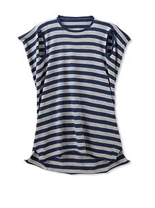 kicokids Girl's Sporty Stripe 2-D Kaftan (Indigo/Grey)