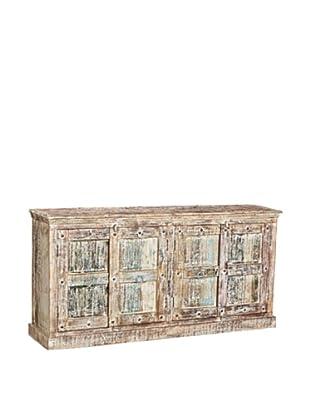Moti Mezzanine 4-Door Buffet Reclaimed Wood, White/Multi
