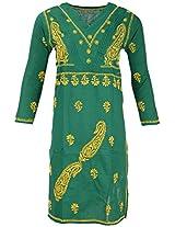 PR Chikans Women's Cotton Kurti (Green, Large)
