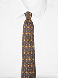 Hermès Men's Sunflower and Palm Tree Tie, Blue/Yellow, One Size