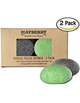 Konjac Face Sponge With Bamboo Charcoal And Green Tea 2 Pack 100% Natural Konjac Sponge For Improving Skins Look And Feel Sponges Each Come With An Attached String