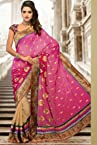 Pink Jacquard and Chiffon Saree