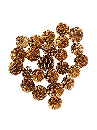 Sage & Co. Set of 24 Gold Glitter Pine Cones in Bag