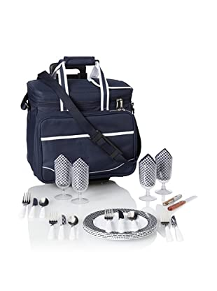 Picnic at Ascot Bold Picnic Cooler For 4 with Removable Wheeled Cart, Navy