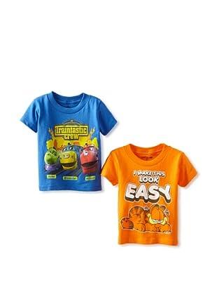 Freeze Boy's Garfield/Chuggington 2 Pack T-Shirt Bundle (Orange/Royal)