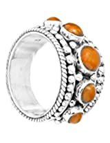 Exotic India Granulated Coral Ring - Sterling Silver Ring Size 8