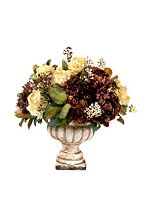 Creative Displays Brown & Cream Ranunculus & Hydrangea in Stone Urn, 28x27x29