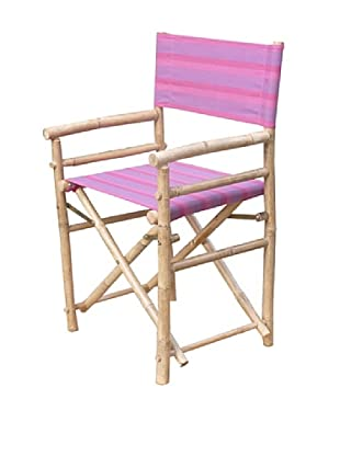 ZEW, Inc. Pair of Outdoor Bamboo Director Chairs with Interchangeable Covers, Fuchsia Stripes/White