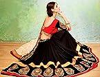 Ethnic Fire Zari Embroidery Lehenga Saree - Black