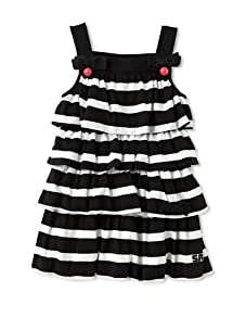 Sonia Rykiel Girl's Striped Ruffle Dress (Black/White)