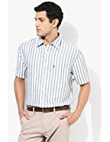 Blue Cotton Linen Casual Shirt Allen Solly