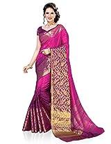 Meghdoot Artificial Silk Saree (ETHNIC_MT1369_RANIxPURPLE Woven Pink and Purple Colour Sari)